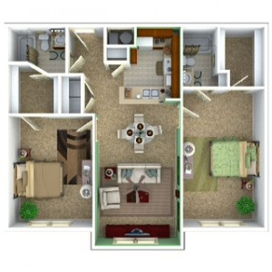 2 Bedroom Apartment Floor Plan (Retreat)