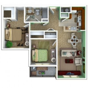 2 Bedroom Apartment Floor Plan (Tranquility)